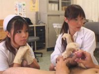 【H動画】 【アダルト動画】治療という名目でスキン手袋手淫で発射するまでチンコこを弄ぶ女医とナース