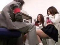 【アダルト動画】 【アダルト動画】通報されたくなくてヘンタイ駅員とナマ中出しえっちしちゃったGAL女子高生二人組