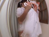 【H動画】 【アダルト動画】某お手伝いさん喫茶の化粧室に仕掛けた盗み見カメラ!下着姿になりコスプレイヤーに着替えるびにゅう美幼女達!!